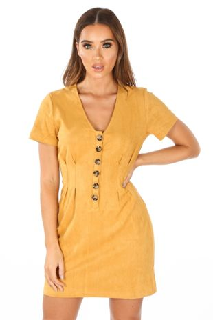 Faux Suede Mini Dress With Button Detail In Mustard
