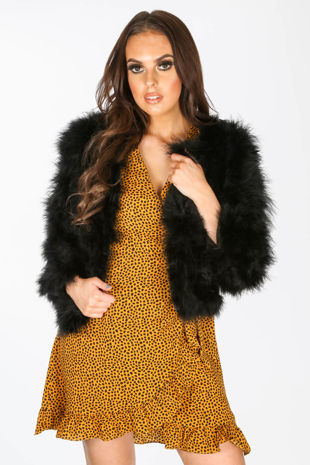 Ostrich Feather Jacket In Black