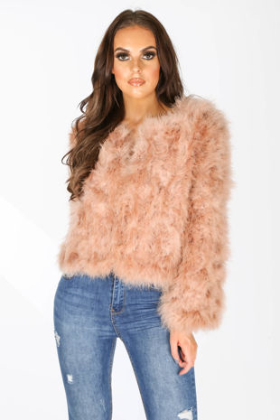 Ostrich Feather Jacket In Nude