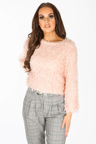 Feather Look Round Neck Top In Pink