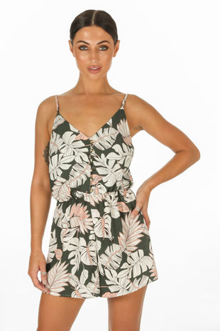 Floral Button Front Playsuit In Khaki