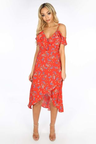 Cold Shoulder Midi Wrap Dress in Red Floral Print