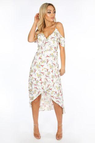 Cold Shoulder Midi Wrap Dress in White Floral Print