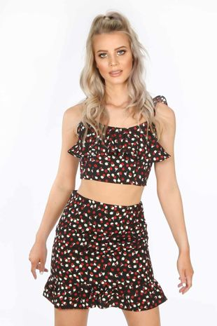 Black Floral Frill Crop Top