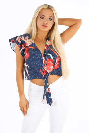 Floral Print Polka Dot Tie Front Blouse