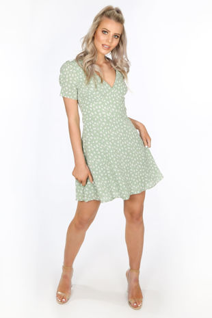 Green Floral V-Neck Tea Dress