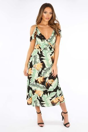 Black Tropical Print Wrap Frill Midi Dress