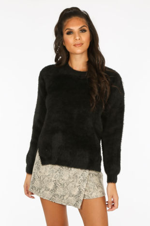 Fluffy Round Neck Jumper With Side Split In Black