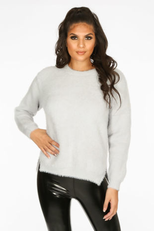 Fluffy Round Neck Jumper With Side Split In Grey