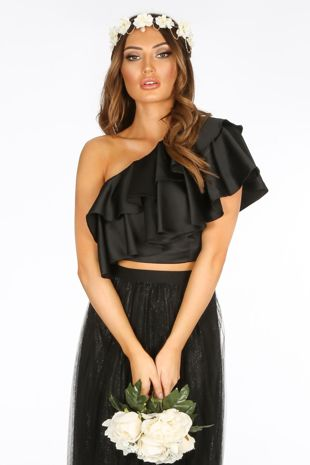 Black One Shoulder Frill Crop Top