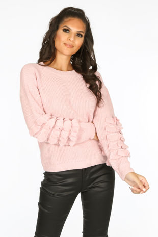 Layered Frill Sleeve Jumper In Pink