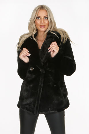 Black Double Button Faux Fur Jacket