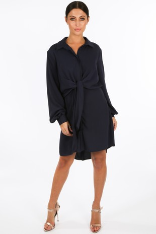 c/634/GCD2076-_Tie_Front_Chiffon_Shirt_Dress_In_Navy__67779.jpg
