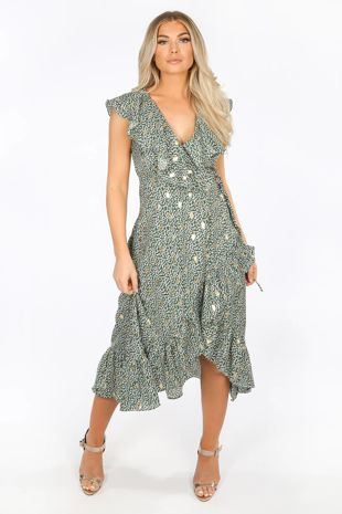 Green Gold Foil Leaf Print Wrap Midi Dress