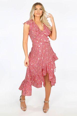 Red Gold Foil Leaf Print Wrap Midi Dress