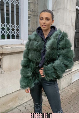 Green Super Soft Faux Fur Jacket