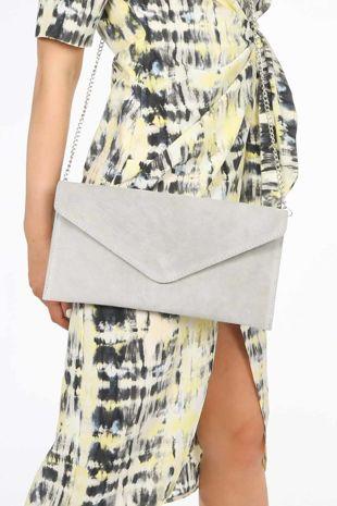 Light Grey Suede Envelope Clutch Bag