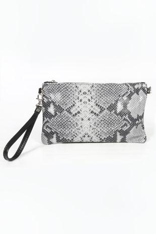 Grey Leather Snake Clutch Bag