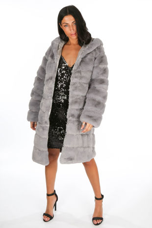 Grey Long Faux Fur Coat With Hood
