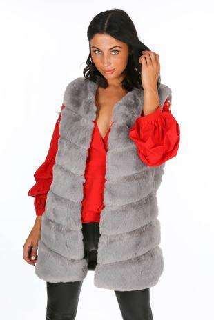 Grey Luxury Long Faux Fur Gilet