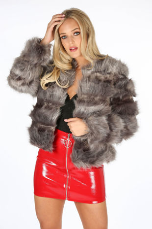 Super Soft Faux Fur Jacket In Dark Grey
