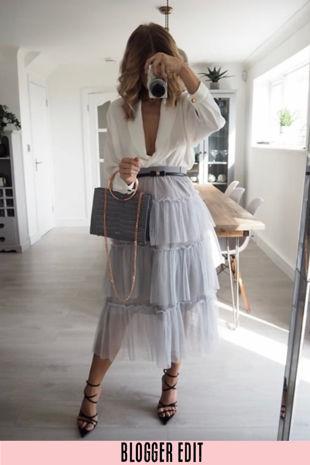 Grey Layered Tulle Midi Skirt