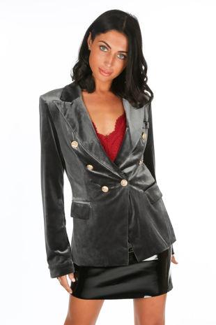 Grey Velvet Double Breasted Tailored Blazer