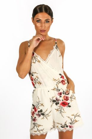 Floral Cross Over Playsuit With Lace Hem In Ivory