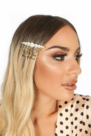 Harper Pearl & Gold Tone Hair Slides