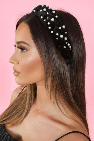 Black Pearl Platted Headband
