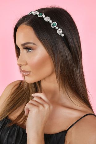 Emerald And Pearl Headband