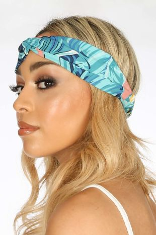 Turquoise Tropical Print Fabric Headband