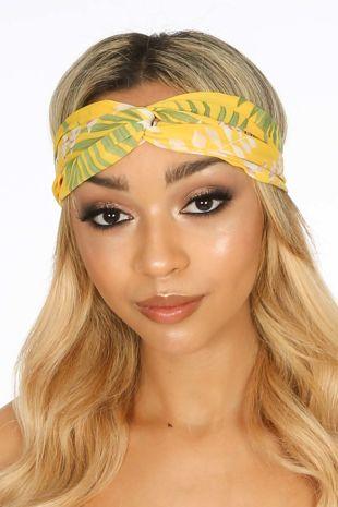 Yellow Tropical Print Fabric Head Band