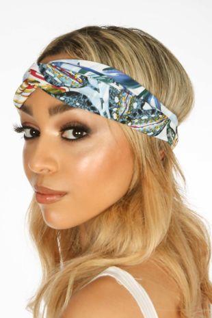 Light Blue Tropical Print Fabric Head Band