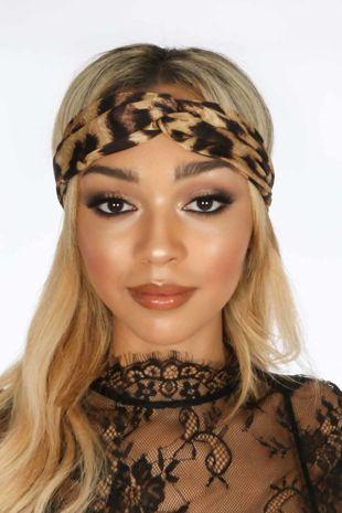 Taupe Leopard Print Fabric Headband
