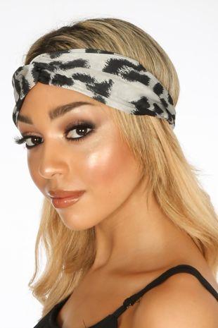 Grey Leopard Print Fabric Headband