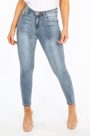 Acid Wash High Waisted Ankle Grazer Jeans