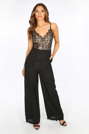 Black Contrast Lace Jumpsuit