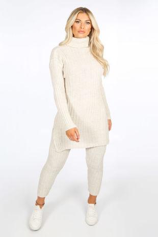 Beige Knitted Longline Jumper & Leggings Set