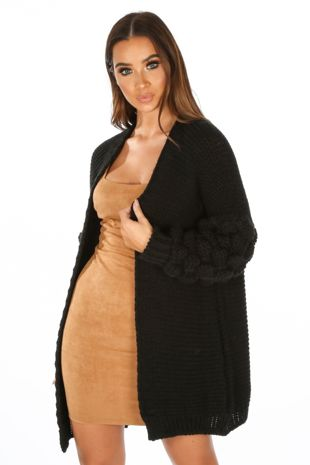Knitted Cardigan With Bobble Sleeve In Black
