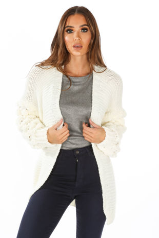 Knitted Cardigan With Bobble Sleeve In Cream