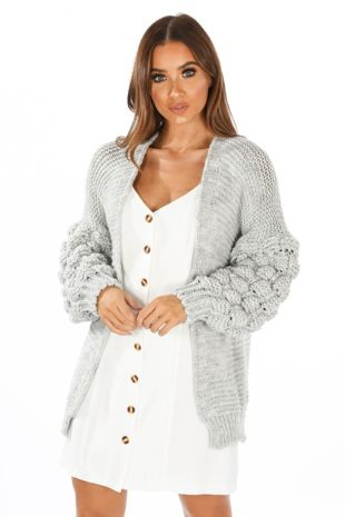 Knitted Cardigan With Bobble Sleeve In Grey