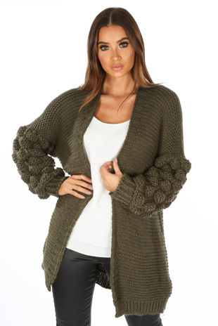Knitted Cardigan With Bobble Sleeve In Khaki