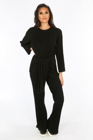 Black Soft Knit Loungewear Set
