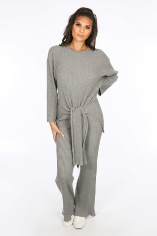 Grey Soft Knit Loungewear Set