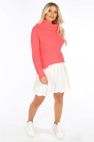 White Knitted Pleated Skater Skirt