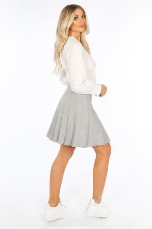 Grey Knitted Pleated Skater Skirt