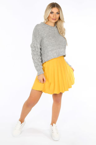 Yellow Knitted Pleated Skater Skirt