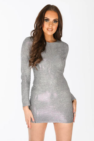 Long Sleeve Metallic Bodycon Dress In Blue
