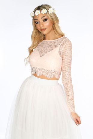 Pink Long Sleeve Sheer Lace Crop Top